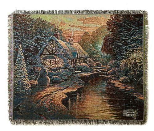 """Thomas Kinkade Christmas Evening Throw 50"""" x 60""""   eBay"""