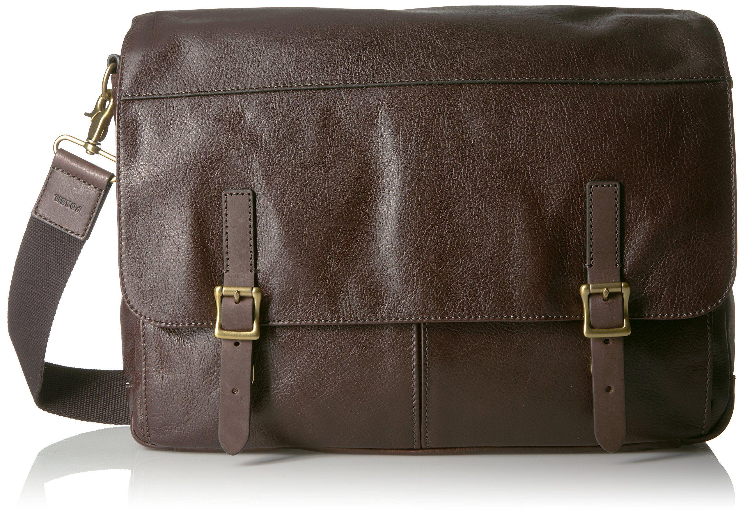 Fossil Men S Defender Leather Messenger Bag Dark Brown Bags