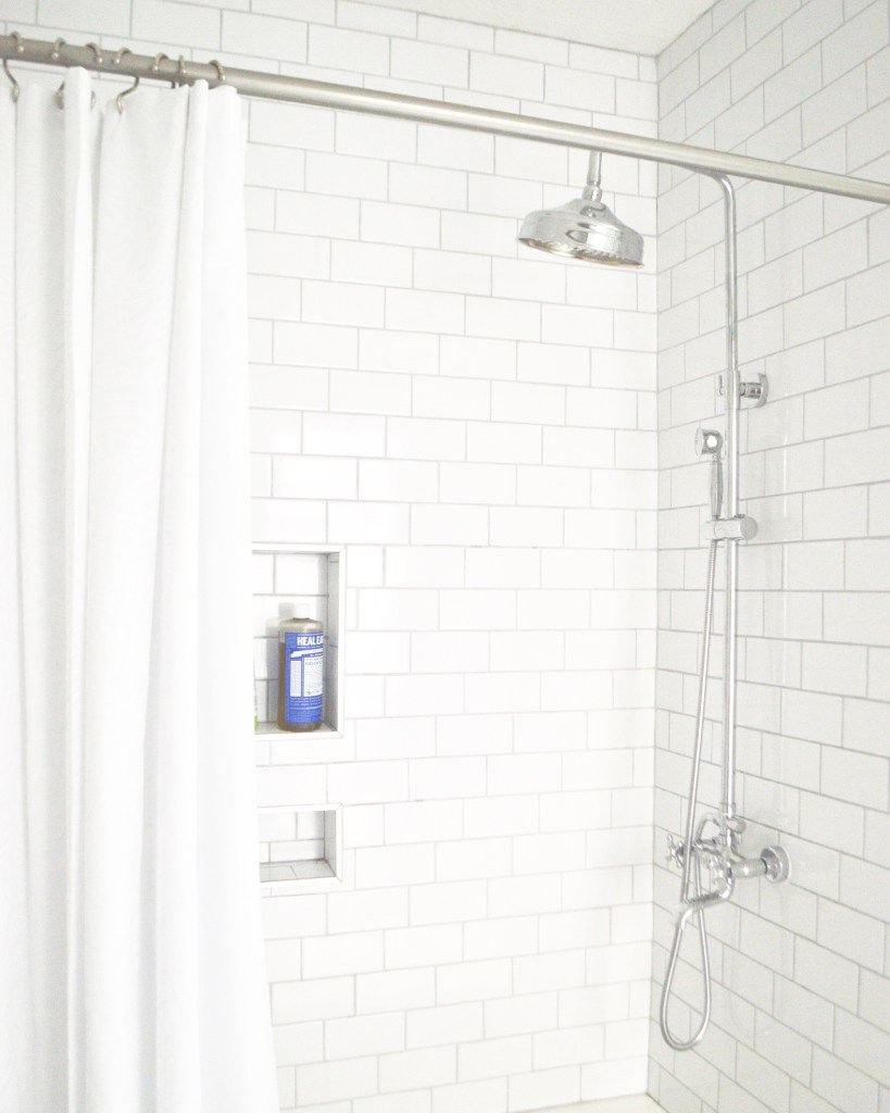 The Home That Started It All White Subway Tile Shower Subway Tile Showers Shower Shelves