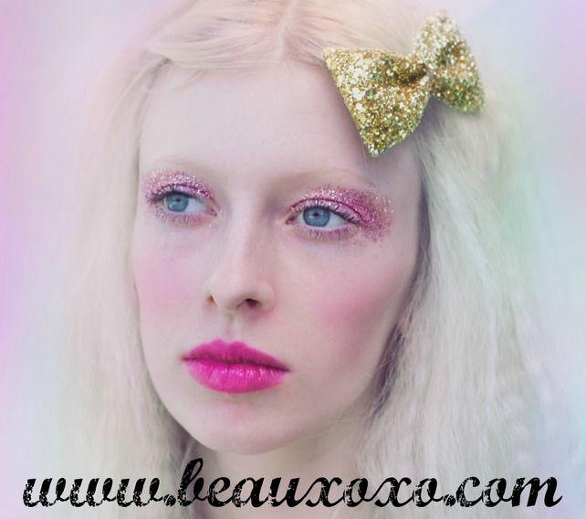 Glitter Hair Bow Gold Glitter Hair Bow Cute Glitter Bow £5.00