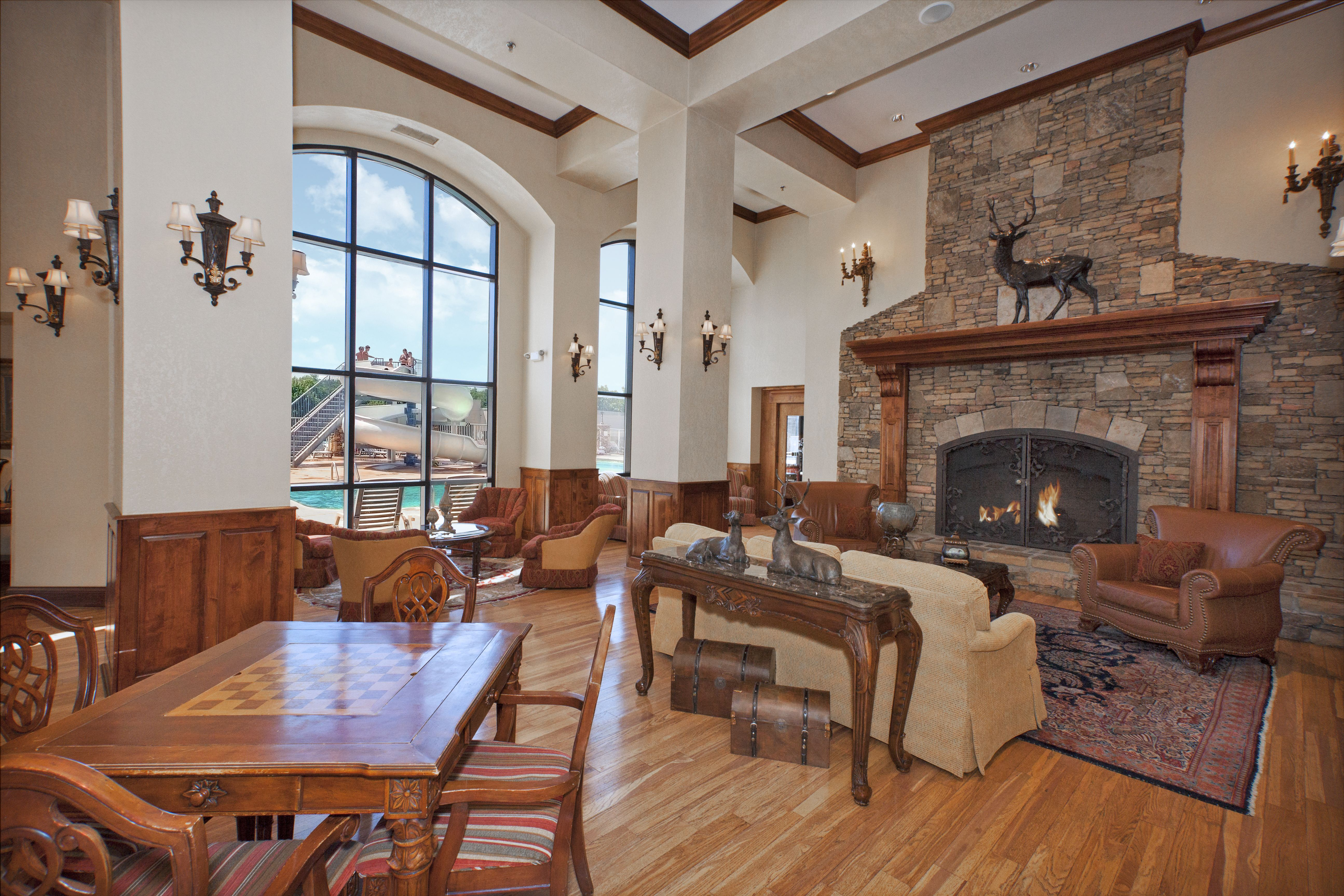 Walk Into This Charming Inn Lobby With Fireplace And Views Of The