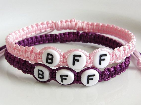 Pink Purple Bff Friendship Bracelets Beaded Best Friends Forever