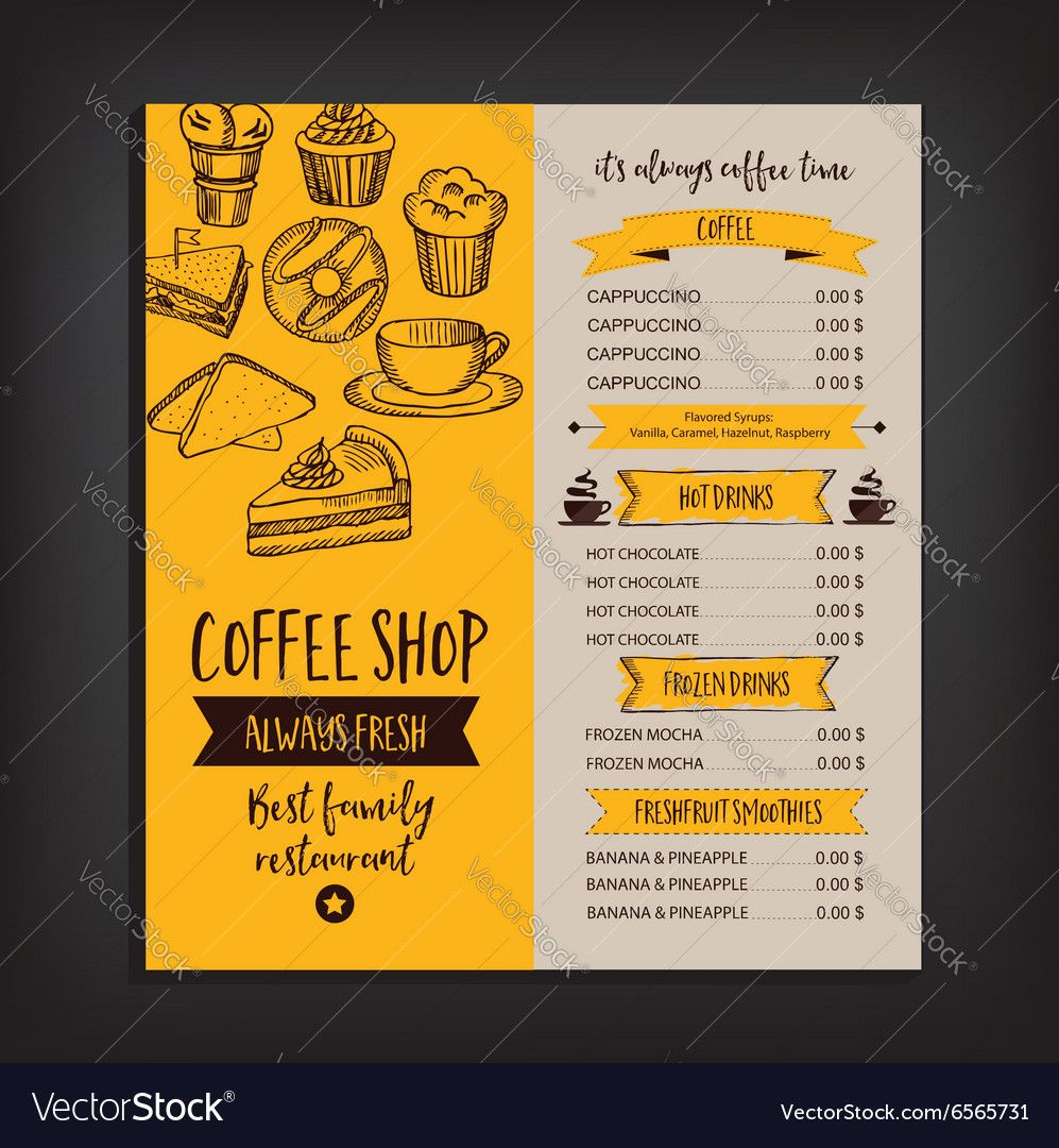Restaurant Cafe Menu Template Design Royalty Free Vector Ad Menu Template Restaurant Cafe Ad Menu Card Design Cafe Menu Design Menu Design Template