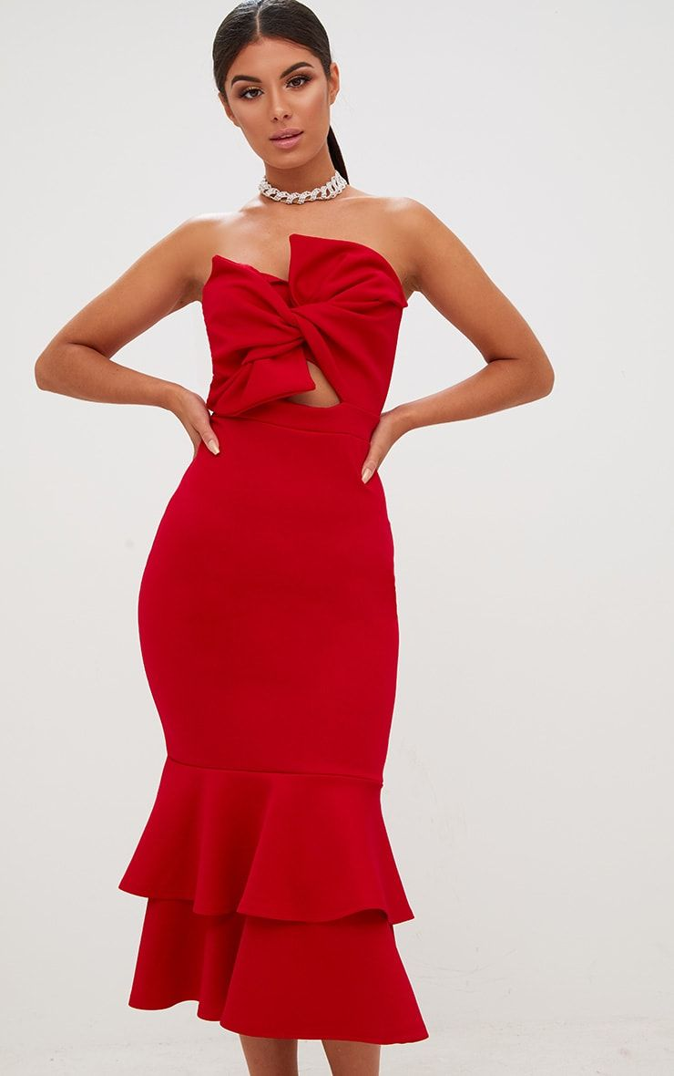 Red Scuba Bow Detail Frill Hem Midi Dress | Yeliz\' likes | Pinterest ...