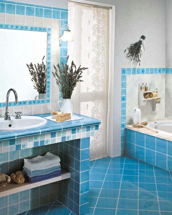 Badezimmer Mit Blauen Fliesen Gestalten Lustig Aussehen Badezimmer