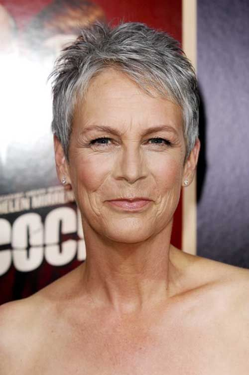Very Short Grey Pixie Cut