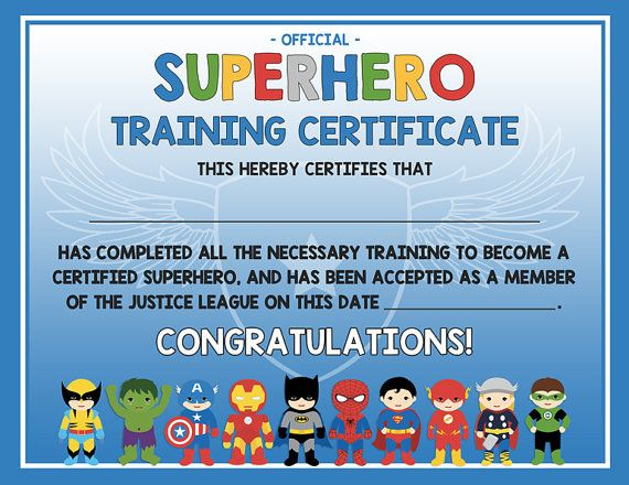Superhero training certificate - 2 versions blue AND gray - digital - new dog training certificate template