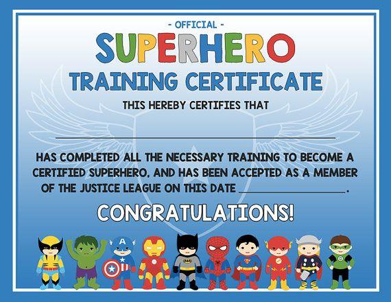 Superhero training certificate 2 versions blue AND gray - training certificate