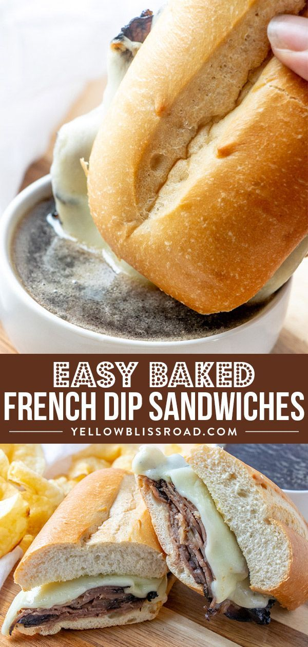 My easy Baked French Dip Sandwich Recipe is simple full of flavor and so delicious Plus they take less than 20 minutes to prepare with only a few ingredients via Kristin...