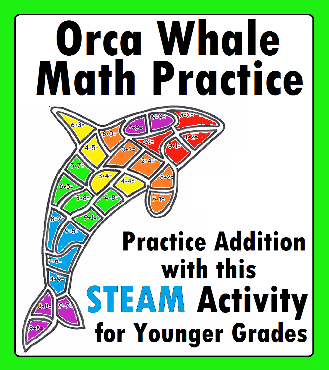 Orca Whale Math Addition Practice Worksheet Coloring With