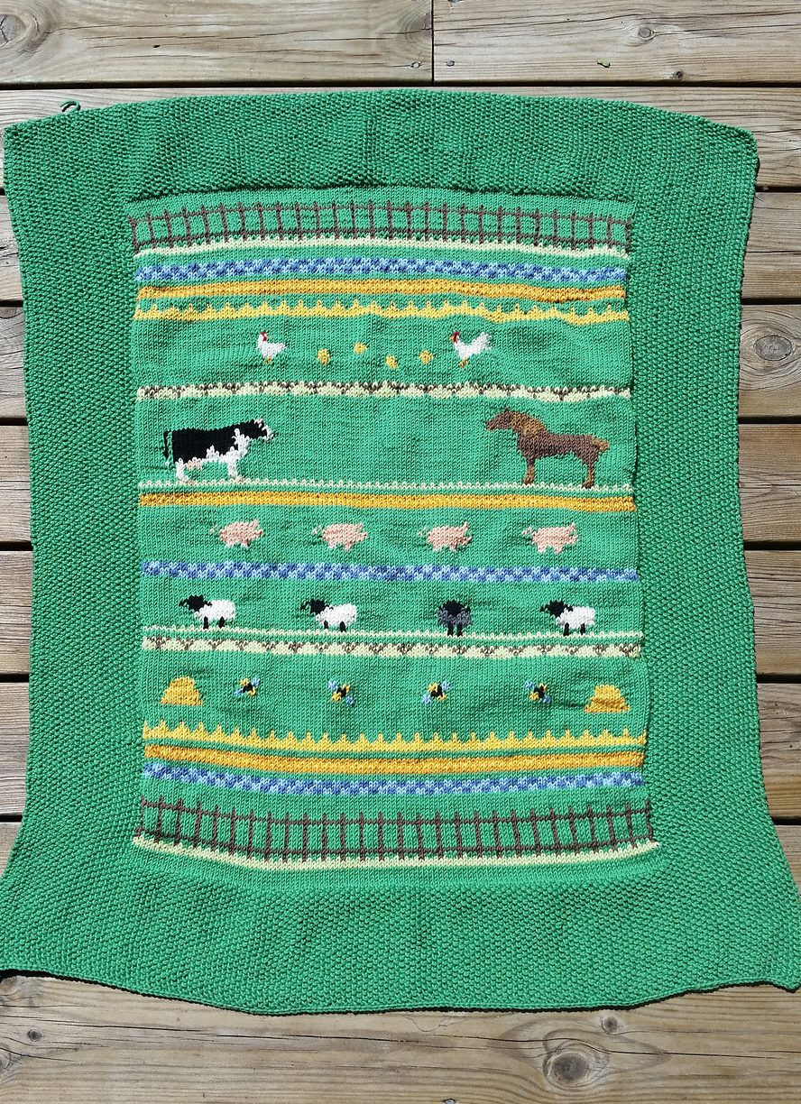 Free Knitting Pattern For Farm Animal Baby Blanket