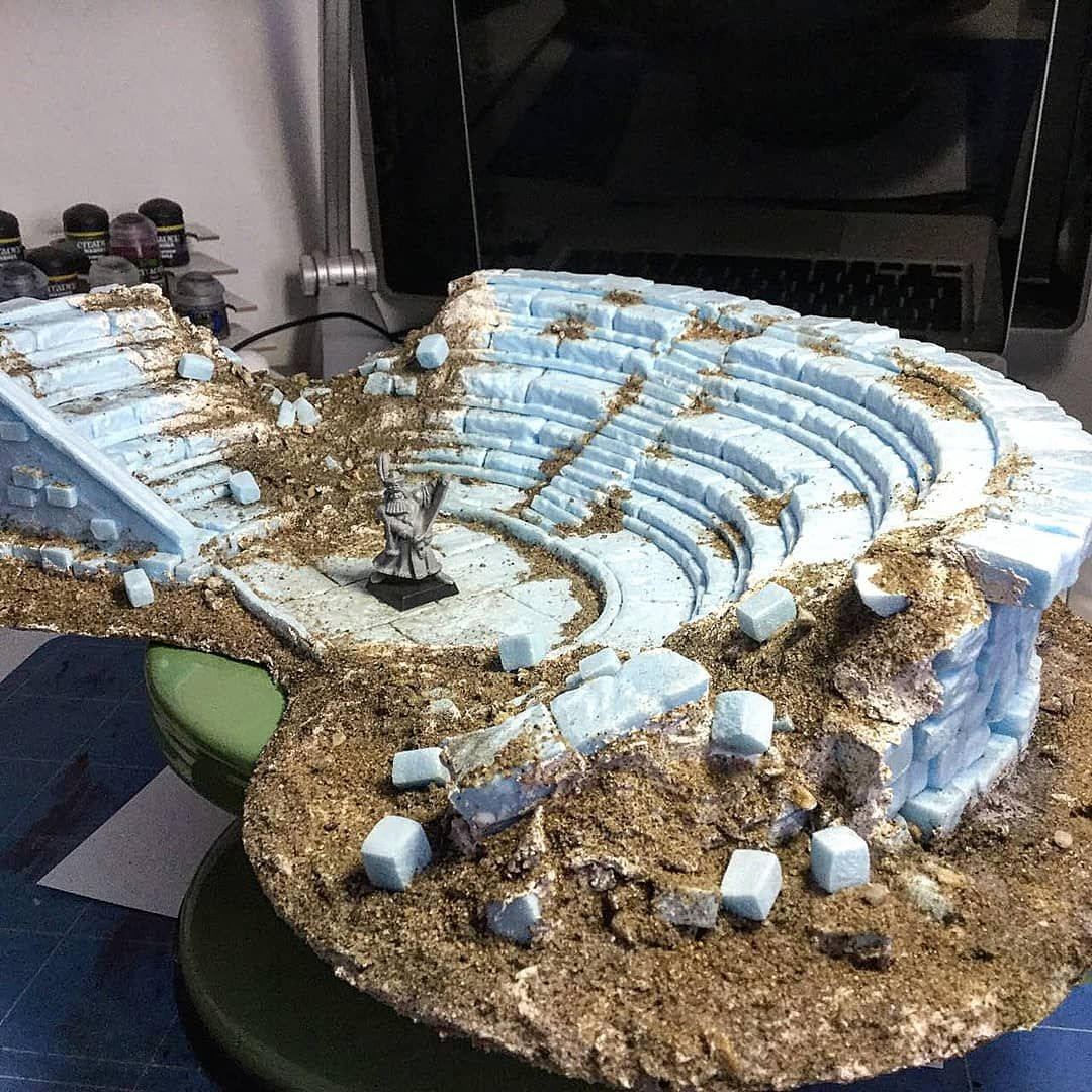 Amphitheater ready for painting!  #frostgrave #modulardungeon #dnd #dungeonsanddragons #heroquest #malifaux  #tabletop #wargaming… #wargamingterrain