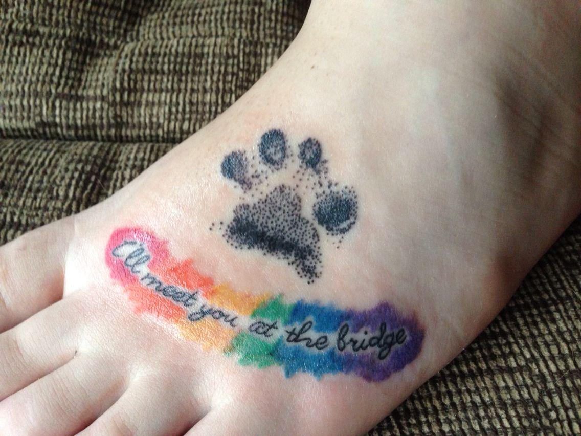 Rainbow Bridge Memorial Paw Print Tattoo With Images Rainbow