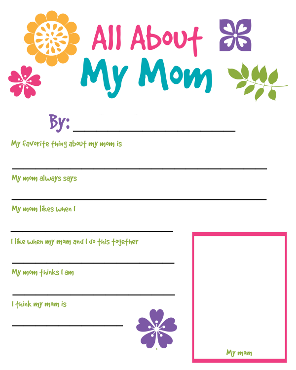 graphic about All About My Mom Printable known as All Over My Mother Printable Worksheet For Moms Working day Young children