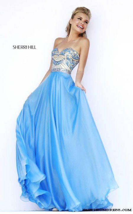 2015 Blue Sherri Hill 1942 Full Figured Sweetheart Evening Gown ...