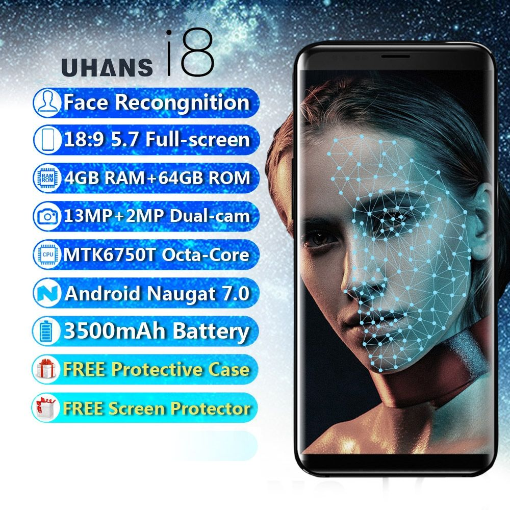 Best Cheap Android Face Recognition 5.7 Smartphone UHANS