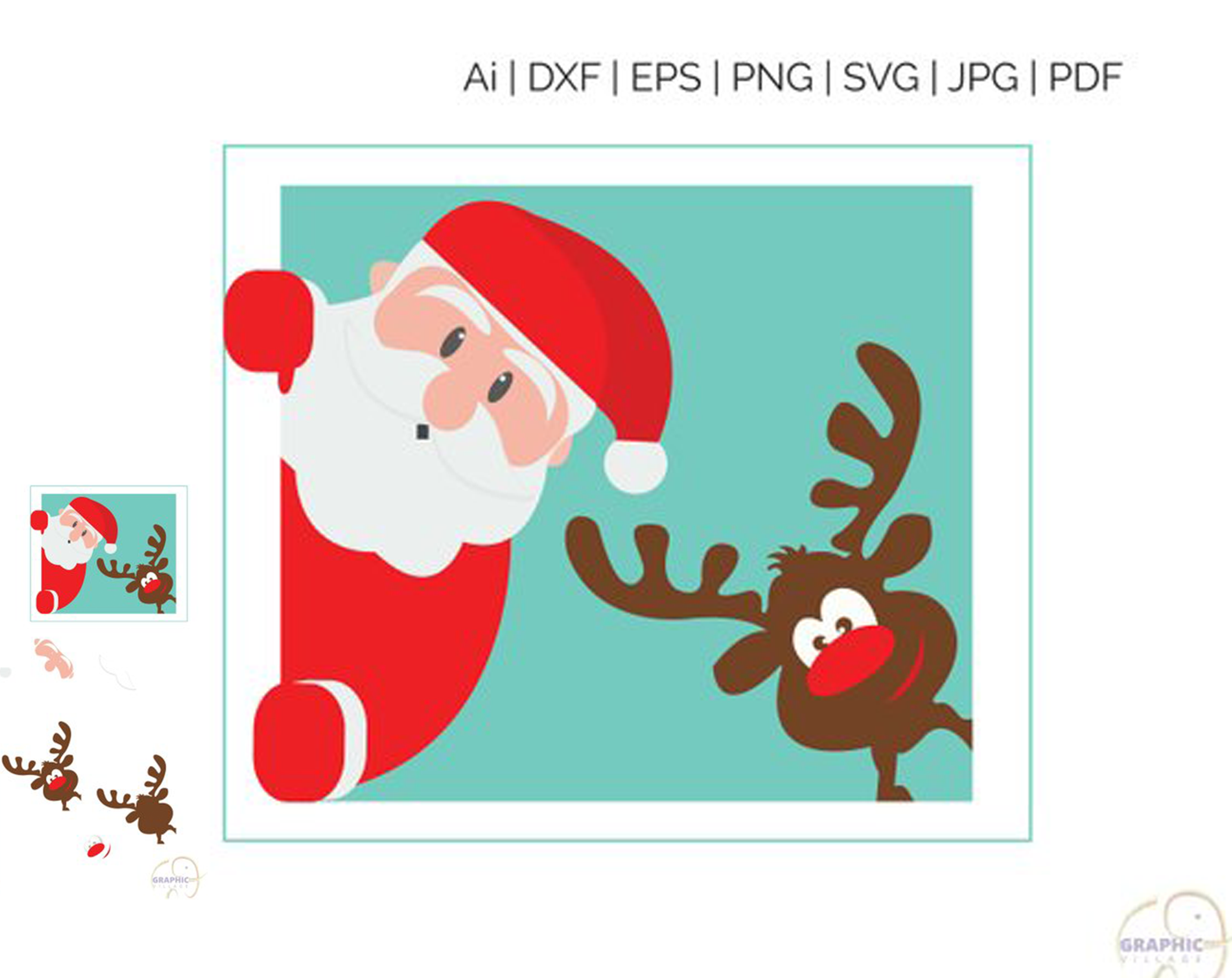 Santa Claus SVG EPS. Vector Clipart Digital Silhouette and