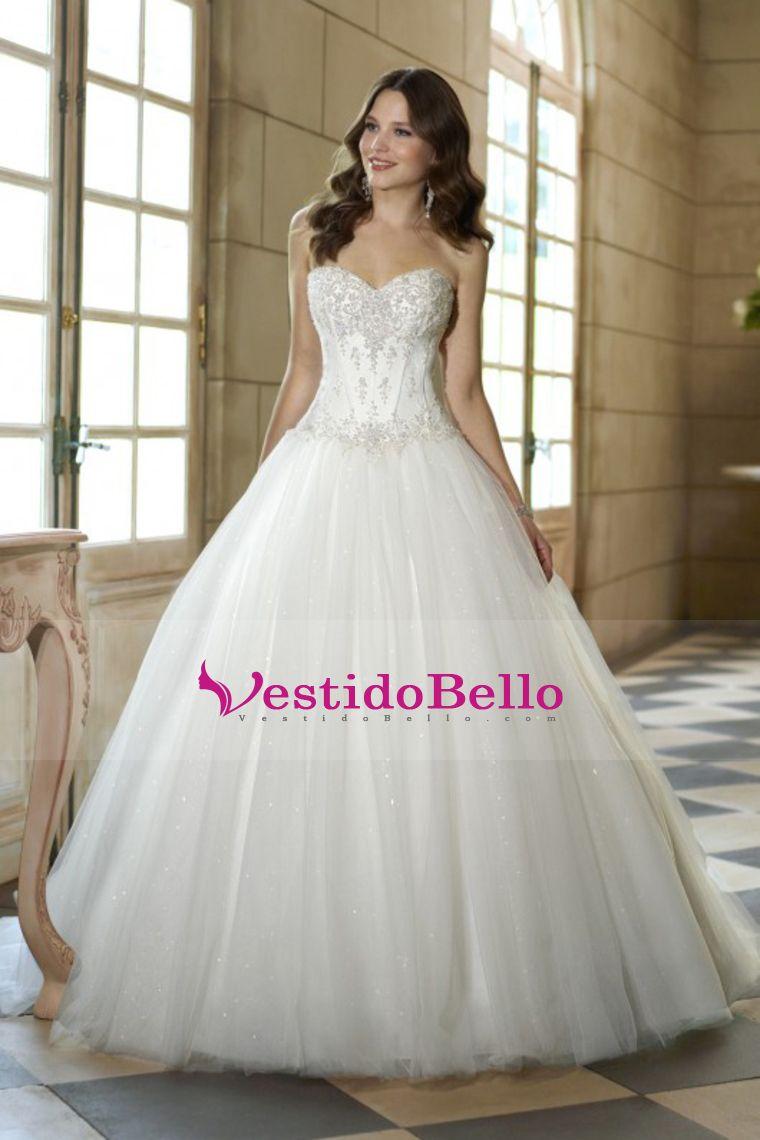 2016 Una línea de novia con cuentas blusa vestidos de tul de novia ...