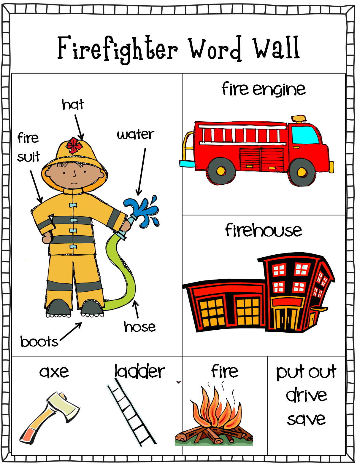 Freebie Firefighter Word Wall Writing Center