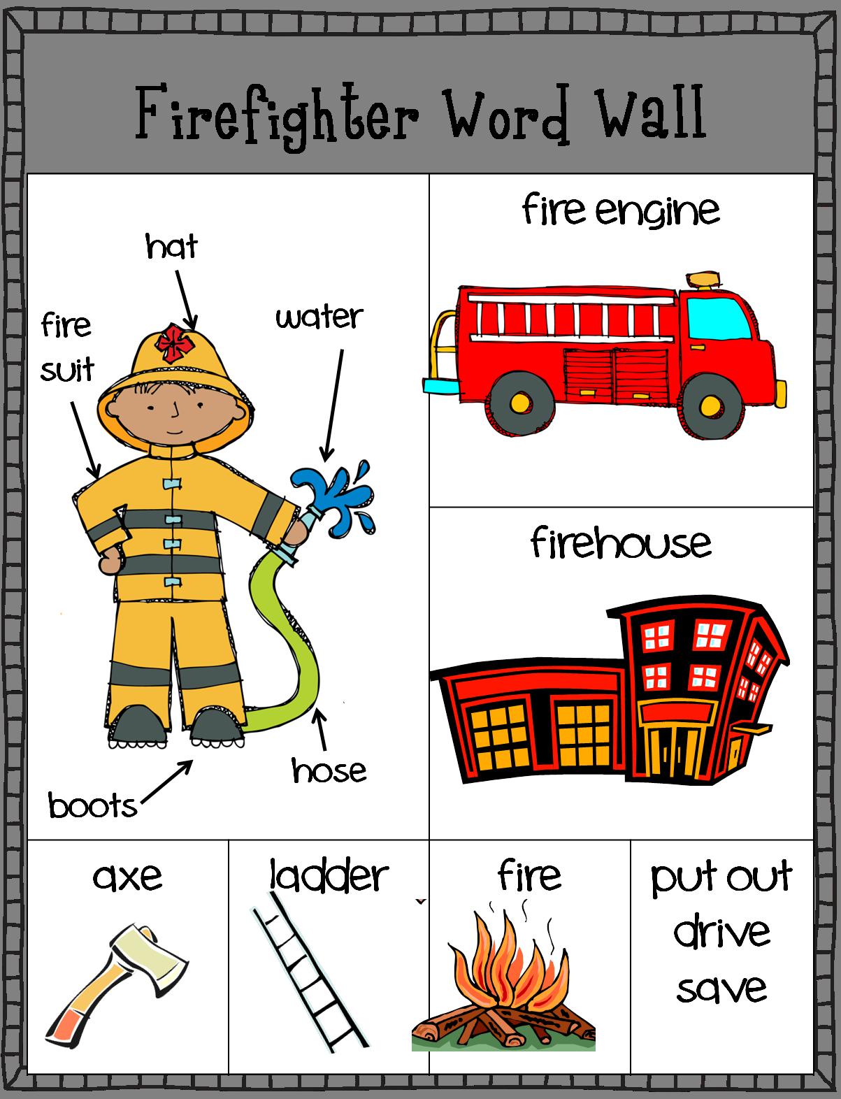 Freebie Firefighter Word Wall Writing Center Fire Safety Preschool Fire Safety Activities Fire Safety Theme [ 1572 x 1203 Pixel ]