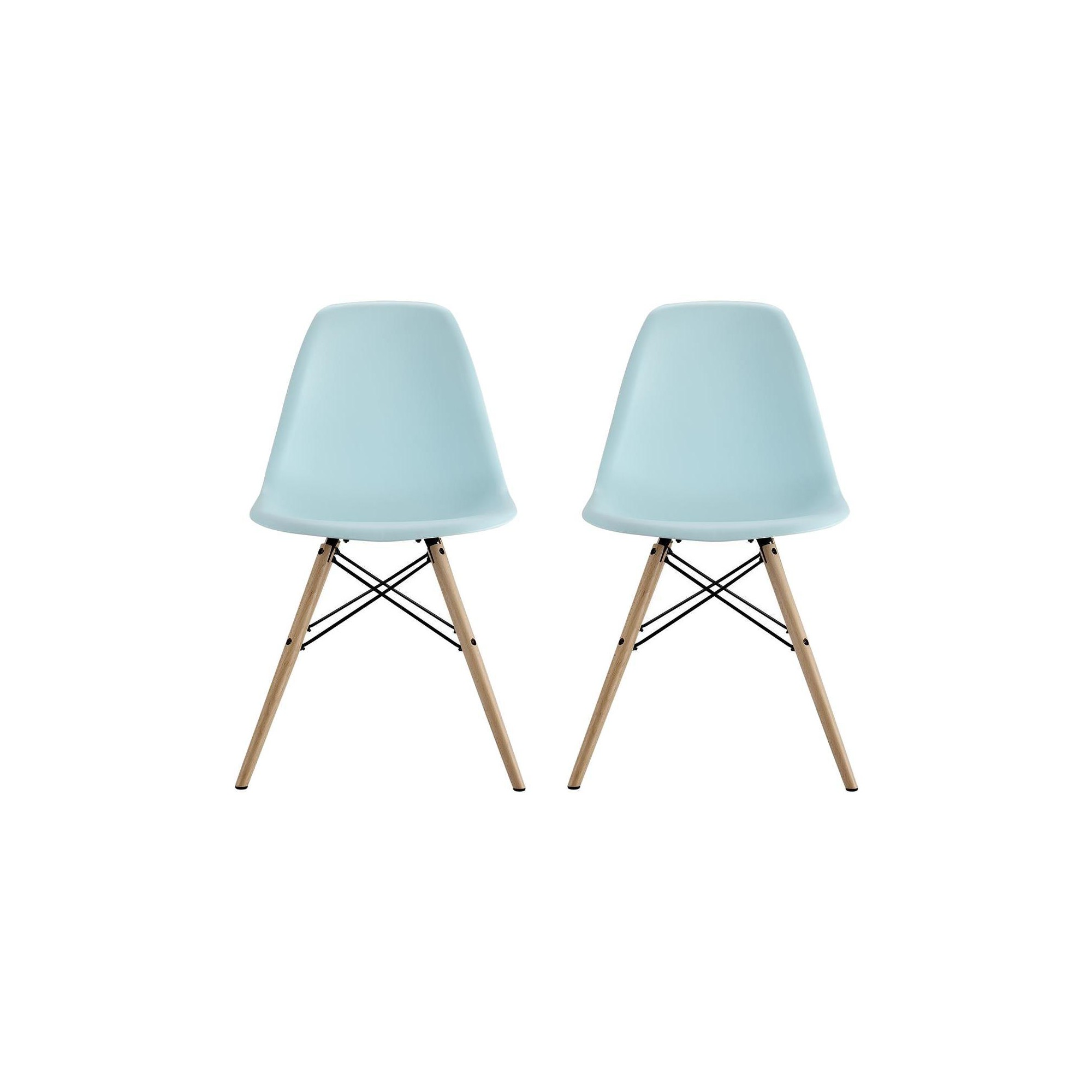Set Of 2 Bellini Mid Century Modern Molded Chair With Wood Leg