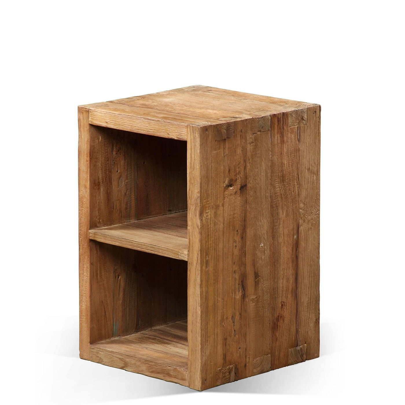 raft unmilled storage cube with shelf, 100% reclaimed teak