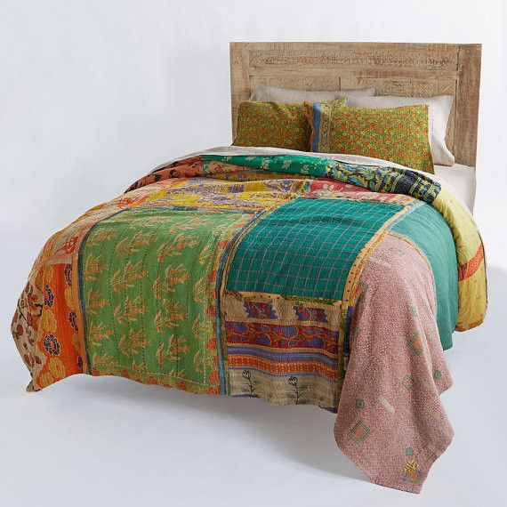 Patchwork Kantha Quilt Bohemian Indian Bedding Handmade Bedcover Coverlet Blanket Throw Decorative Sofa Cover