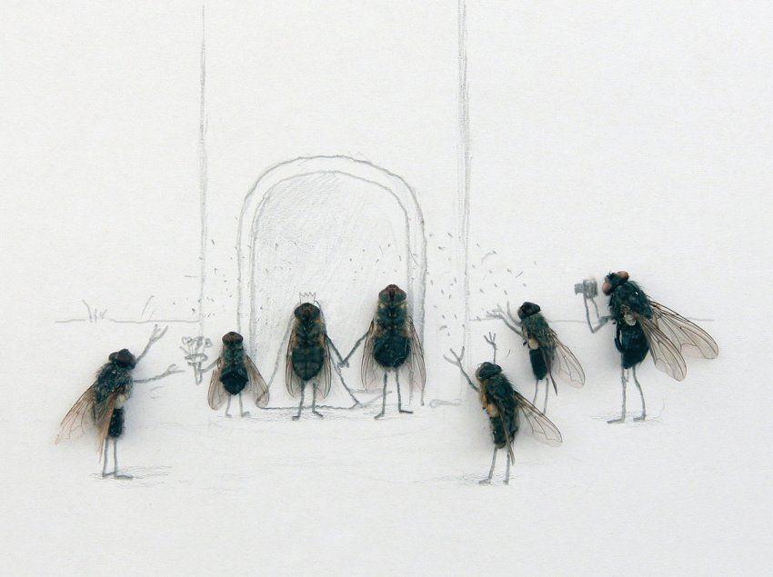 Dead Flies Art by Magnus Muhr Street art, Illustrations and Collage - traitement humidite mur exterieur