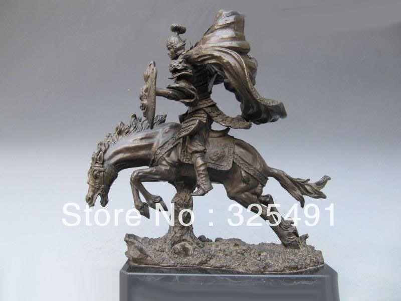 Chinese Pure Bronze Three Kingdoms ZhaoYun warrior