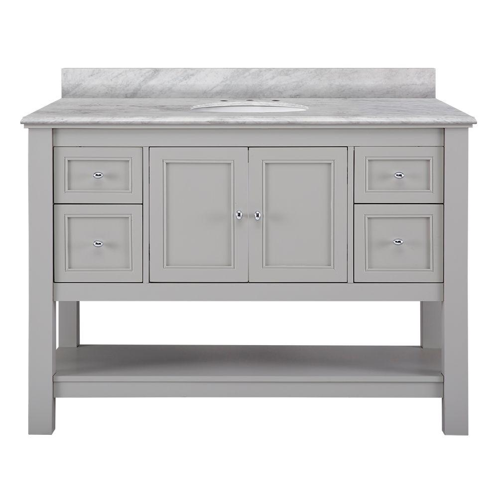 Home Decorators Collection Gazette 49 In W X 22 In D Bath Vanity In Grey With Marble Vanity Top In Cararra White Gaga4822 Car The Home Depot Vanity Cabinet Bathroom Vanities Without