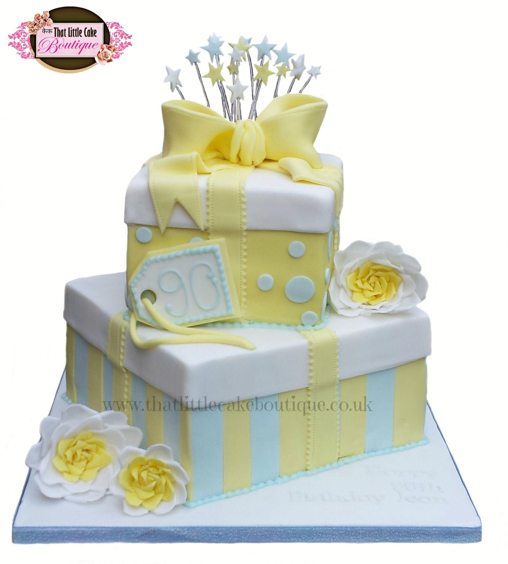 presents cake, two tier cake, bow cake, starburst cake, stripey cake ...
