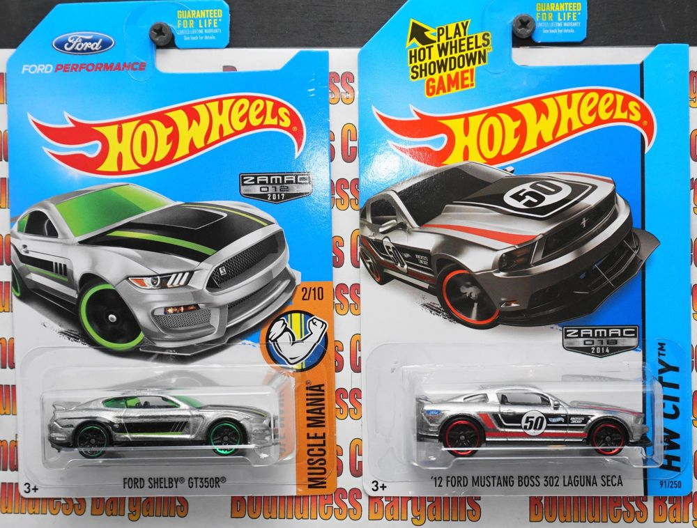 Hot Wheels Lot Of 2 Zamac Ford Shelby Gt350r 12 Boss 302 Laguna Seca 1 64 Vhtf Hotwheels Ford Shelby Gt350r Ford Shelby Hot Wheels