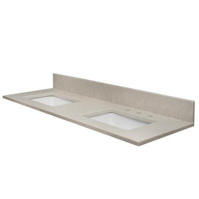 Vt Industries 61 In W X 22 5 In Quartz Double Basin Vanity Top