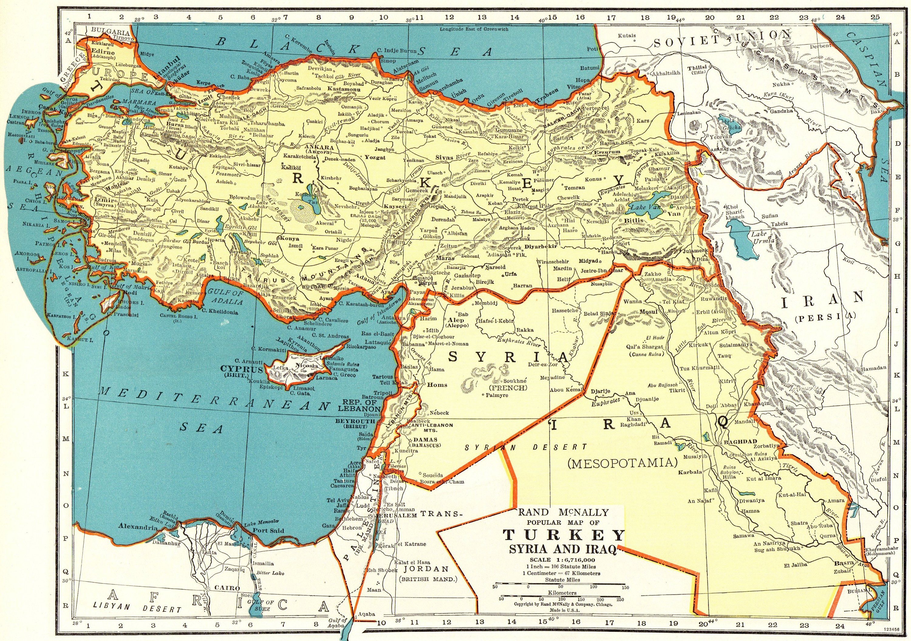 1943 Antique Map of TURKEY Iraq Syria Map Antique Turkey Map ...