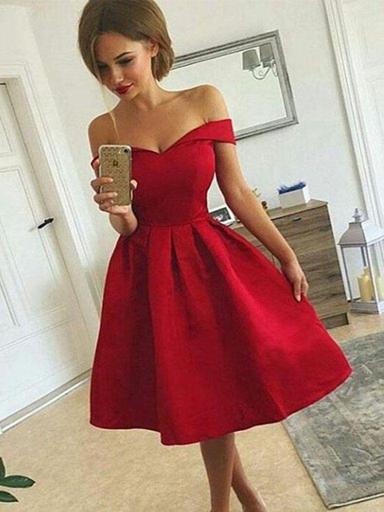 A line off shoulder short red prom dresses short red off shoulder