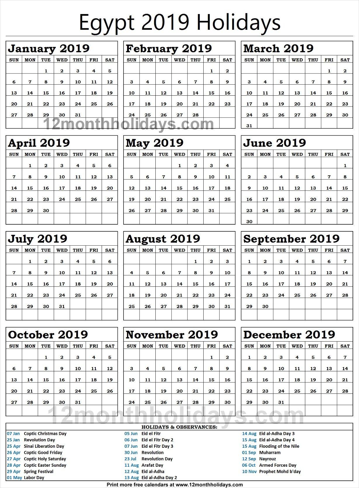 Egypt School Holidays 2019 National Holiday Calendar School Holidays Holiday Calendar