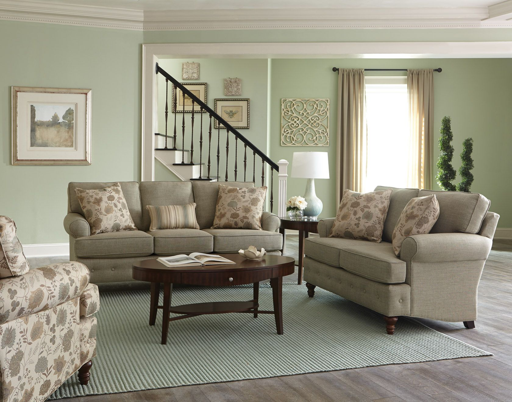 England Furniture 8480 With Toluca Sea Claire Wasabi And Composition Willow Fabrics