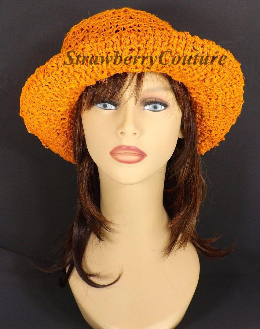 d29384d2a94 Orange Crochet Hat Womens Hat Crochet Wide Brim Hat Women Orange Hat Summer  Hat for Women MONCHERIE Wide Brim Hat Crochet Hat 55.00 USD by ...