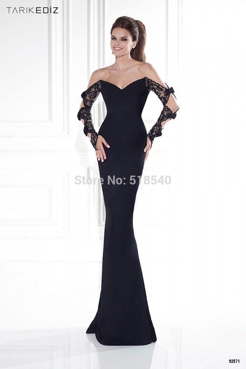 Tarik ediz scoop long sleeve black lace and satin formal trumpet
