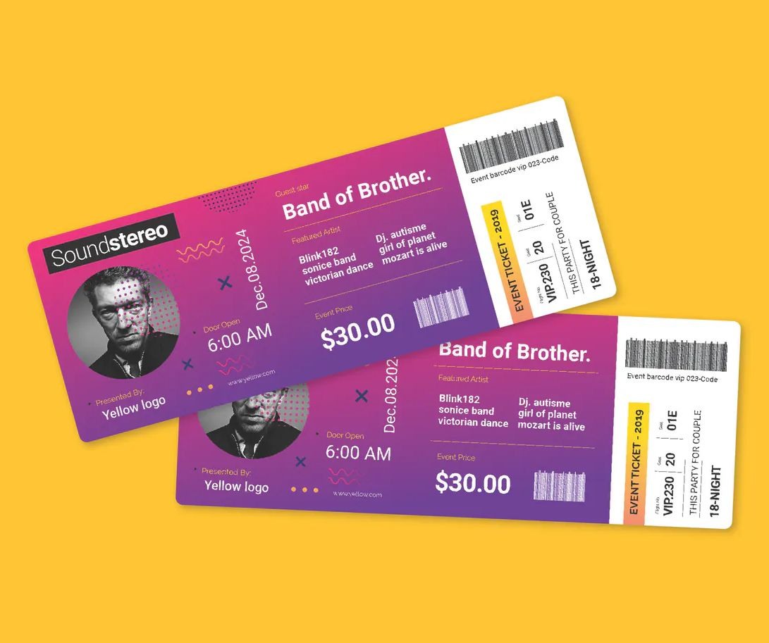 Event Music Ticket Template Vector Eps Ai In 2020 Ticket Design