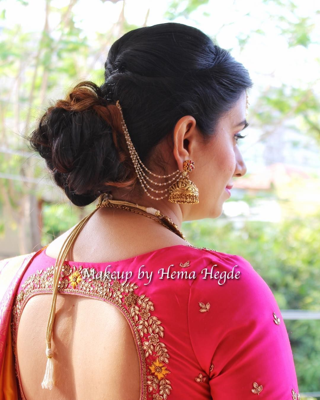 South Indian Wedding Indian Wear Pink And Yellow Silk Saree Traditional South Indian Wedd Saree Hairstyles Wedding Saree Indian Indian Wedding Hairstyles