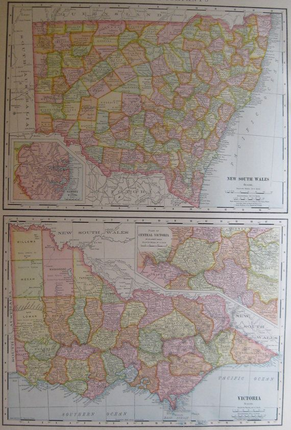 RARE Antique AUSTRALIA Map New South Wales by plaindealing on Etsy