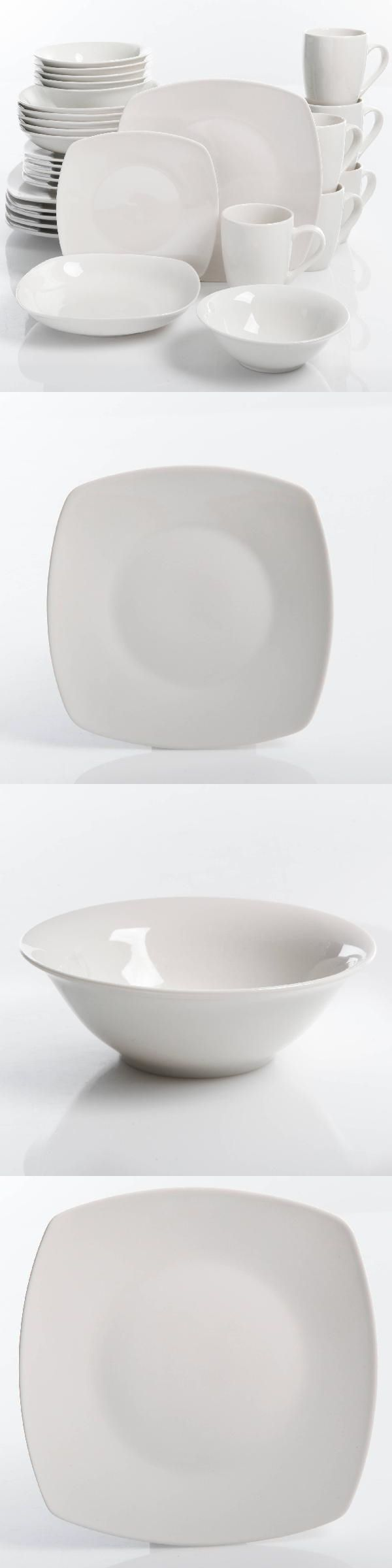 ab0259daa127e Dinner Service Sets 36032  30-Piece Porcelain Dinnerware Set Square Dinner  Plates Dish Service For 6 White -  BUY IT NOW ONLY   46.07 on  eBay  dinner  ...