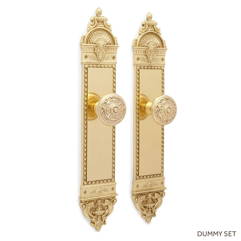 Aline Large Decorative Plate & Floral Round Knob Set - Dummy - Polished Brass
