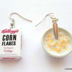 """Boucles d'oreille """"bol de corn flakes et paquet de céréales"""""""