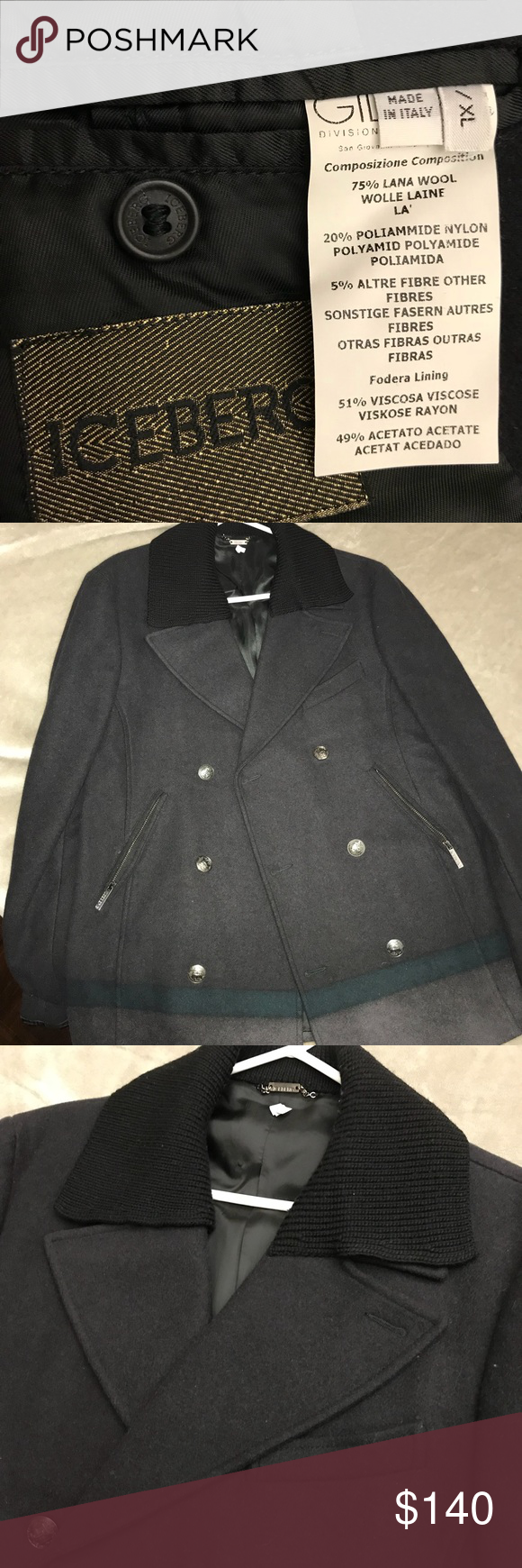 Iceberg Wool Navy Pea Coat Size 52 Us M L Fitted Navy Pea Coat Peacoat Clothes Design [ 1740 x 580 Pixel ]