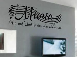 Details about MUSIC IS NOT Vinyl Wall Quote Word Decal Dance Musical Notes Room Decor V2 images