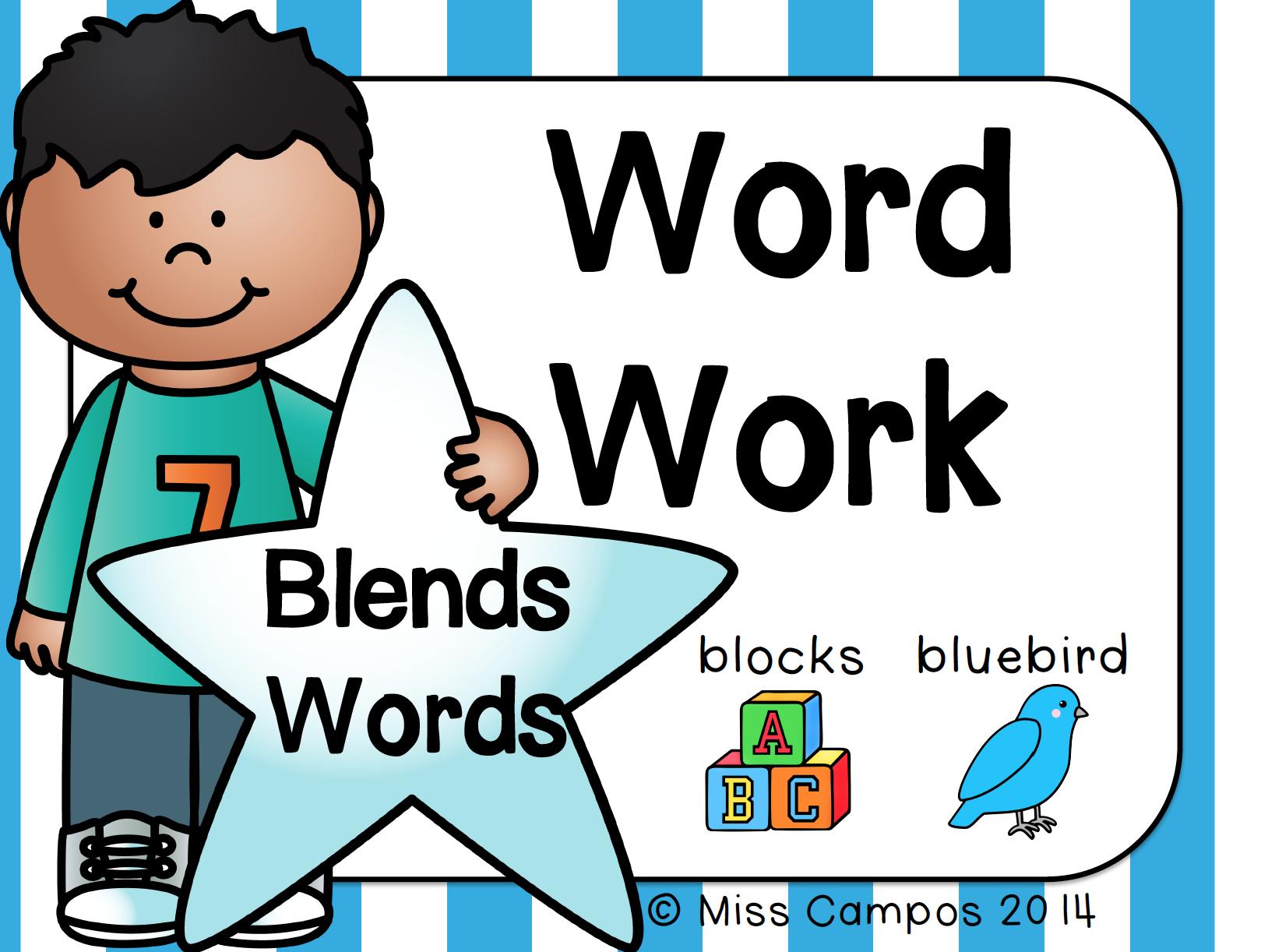 Word Work For Blends S Blends R Blends L Blends Ending Blends