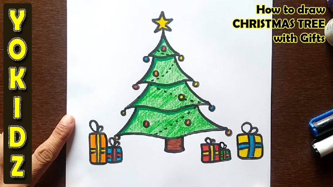 How To Draw Christmas Tree With Gifts Christmas Xmas Christmas Tree With Gifts Christmas Tree Drawing Tree Drawing Simple