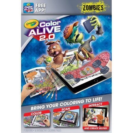Crayola Color Alive 2.0 Interactive Coloring, Zombies Characters, 16 ...